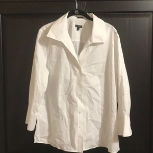 Talbots White Wide Collar Wrinkle Resistant Blouse